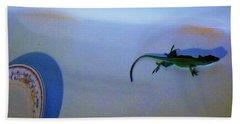Beach Towel featuring the photograph Oscar The Lizard by Denise Fulmer