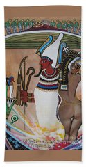 Osiris With Goddess Isis And 4 Grandkids Beach Towel by Sigrid Tune