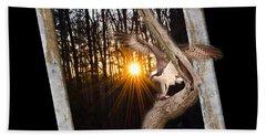 Osprey At Sunset  Black Beach Towel