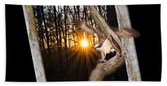 Osprey At Sunset  Black Beach Sheet