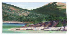 Beach Towel featuring the painting Osprey Island Flaming Gorge by Jane Autry