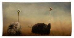 Ostrich Couple Beach Towel by Jai Johnson