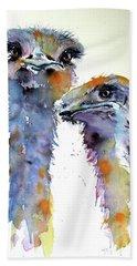 Beach Sheet featuring the painting Ostriches by Kovacs Anna Brigitta