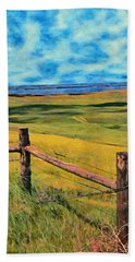 Beach Towel featuring the painting Other Side Of The Fence by Jeff Kolker