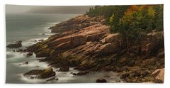 Beach Towel featuring the photograph Otter Cliffs by Gary Lengyel