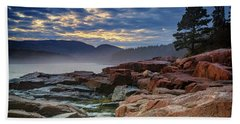 Otter Cove In The Mist Beach Sheet by Rick Berk