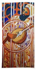 Beach Sheet featuring the painting Oud - Eleven Srings by Denise Weaver Ross