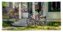 Our Town Bicycle Beach Sheet by Craig J Satterlee