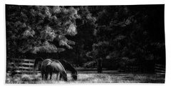 Beach Towel featuring the photograph Out To Pasture Bw by Mark Fuller