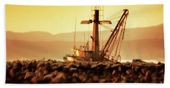 Out To Sea At Moss Landing, California Beach Towel