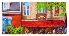 Beach Towel featuring the painting Outdoor Cafe by Carole Spandau