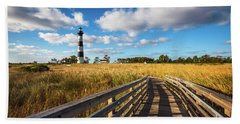 Outer Banks Nc Bodie Island Lighthouse Scenic Landscape Beach Towel