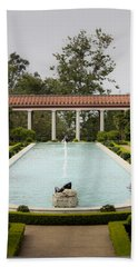 Outer Peristyle Pool And Fountain Getty Villa Beach Towel