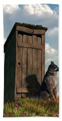 Outhouse Guardian - German Shepherd Version Beach Sheet by Daniel Eskridge