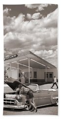 Over Heating At The Sinclair Station Sepia Beach Towel