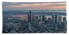 Over Seattle Downtown And The Stadiums Beach Towel