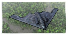 Over The River And Through The Woods In A Stealth Bomber Beach Towel