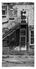 Beach Towel featuring the photograph Over Under The Stairs - Bw by Christopher Holmes