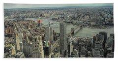 Overlooking Manhattan's East River  Beach Towel