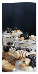 Overnight Oatmeal With Blackberries And Honey Beach Sheet