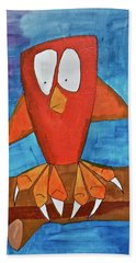 Beach Towel featuring the painting Owel by Donna Howard