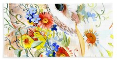 Owl And Flowers Beach Towel