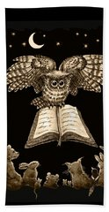 Owl And Friends Sepia Beach Towel