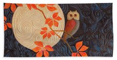 Beach Towel featuring the painting Owl And Moon On A Quilt by Nancy Lee Moran