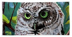 Beach Towel featuring the painting Owl Be Seeing You by Tom Riggs