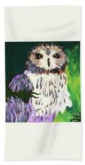 Owl Behind A Tree Beach Towel