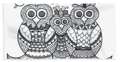 Owl Family Beach Towel