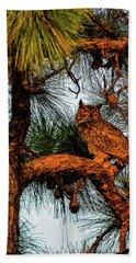 Owl In The Very Last Sunset Light Beach Sheet