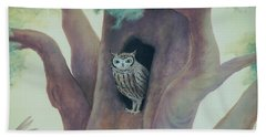 Owl In Tree Beach Towel
