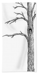 Owl Ink Tree Beach Towel