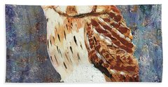 Owl On Snow Beach Towel