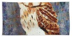 Owl On Snow Beach Towel by Donald J Ryker III