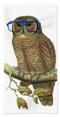 Owl Sitting On A Branch With Blue Glasses Beach Towel