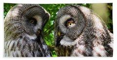 Owl Talk Beach Towel