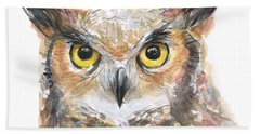 Owl Watercolor Portrait Great Horned Beach Towel
