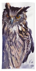 Owl Watercolor Beach Towel