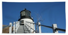Owls Head Lighthouse Winter Beach Towel