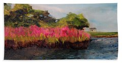 Beach Towel featuring the painting Oyster Pond Falmouth by Michael Helfen