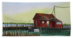 Beach Towel featuring the painting Oyster Shack by Jack G Brauer