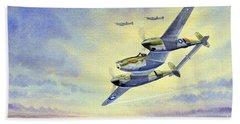 Beach Sheet featuring the painting P-38 Lightning Aircraft by Bill Holkham