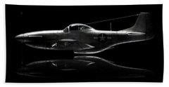 P-51 Mustang Profile Beach Towel by David Collins