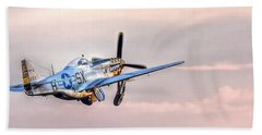 P-51 Mustang Taking Off Beach Towel