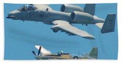 P 51d Mustang And A10 Warthog Tank Killer Beach Towel