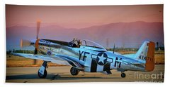 P-51d Mustang 'dakota Kid II. The Long Island Kid' And Casey Odegaard Beach Towel