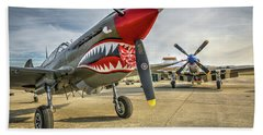 P40 Warhawk And P51d Mustang On The Ramp Beach Sheet