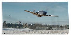 Beach Towel featuring the digital art P51 Mustang - Bodney Blue Noses by Pat Speirs